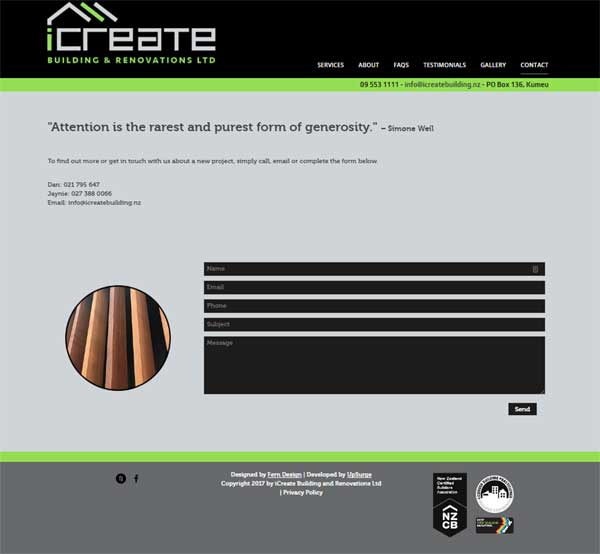 iCreate Building and Renovations contact form